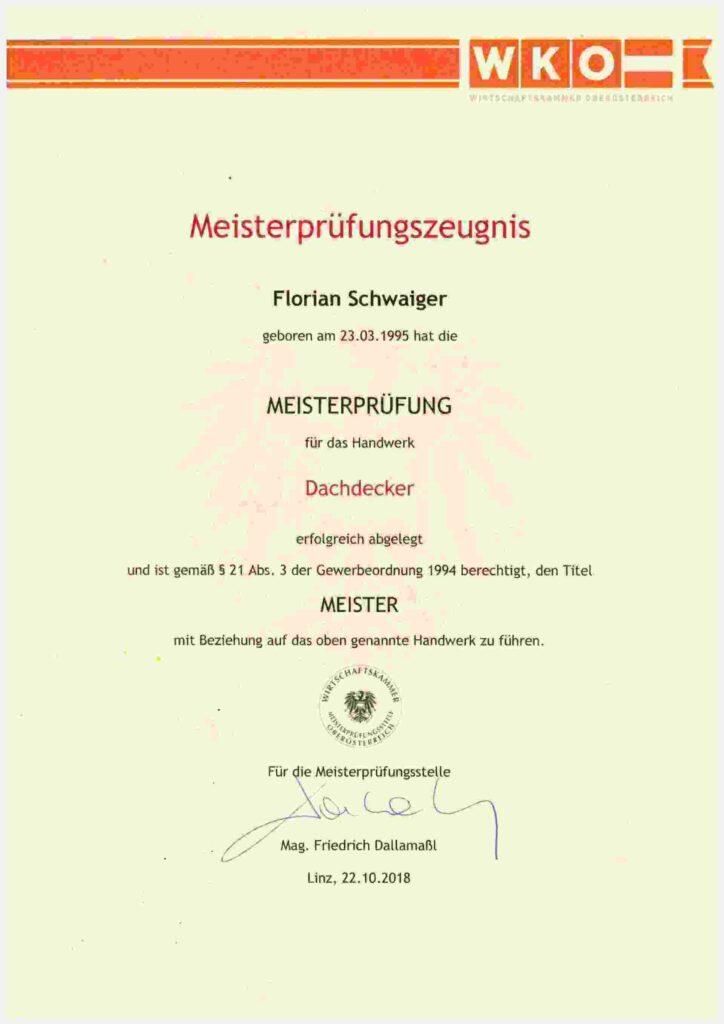 Meister Prüfzeugnis Florian Schwaiger